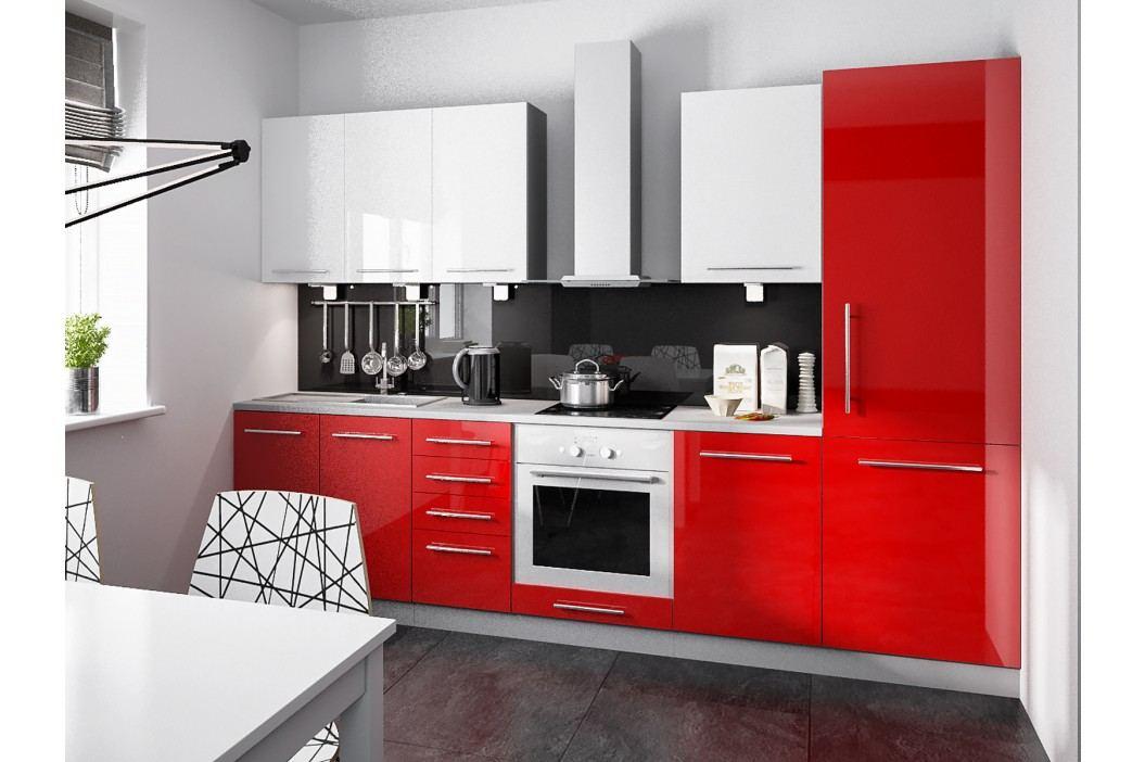 Extom Kuchyně PLATINUM 290/170 cm, VZOROVÁ SESTAVA, rose red+white