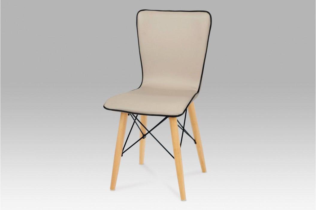 Jídelní židle, koženka cappuccino / natural, B828 CAP1