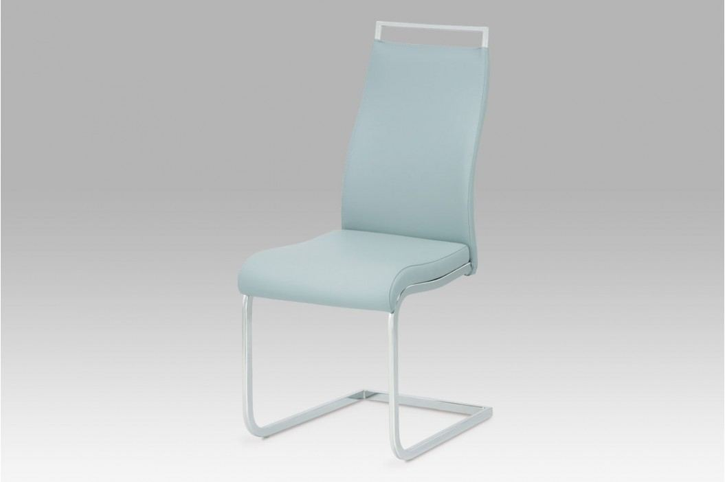 Jídelní židle, koženka světle šedá/chrom, HC-649 GREY1