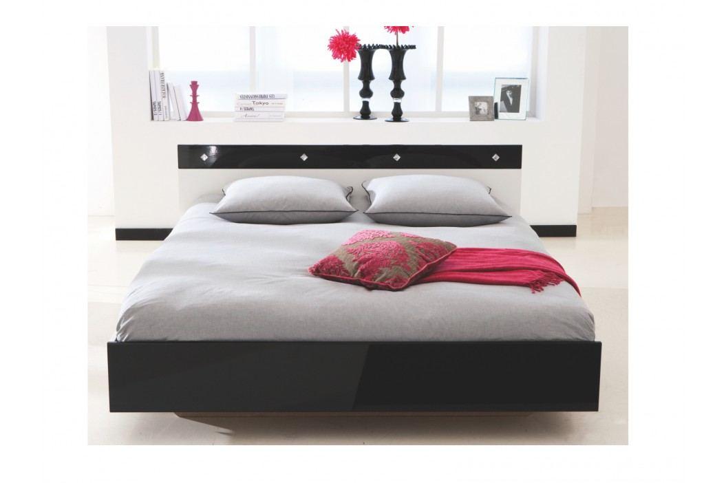 STRAIS, postel 140x190 cm, bílá/černý lesk
