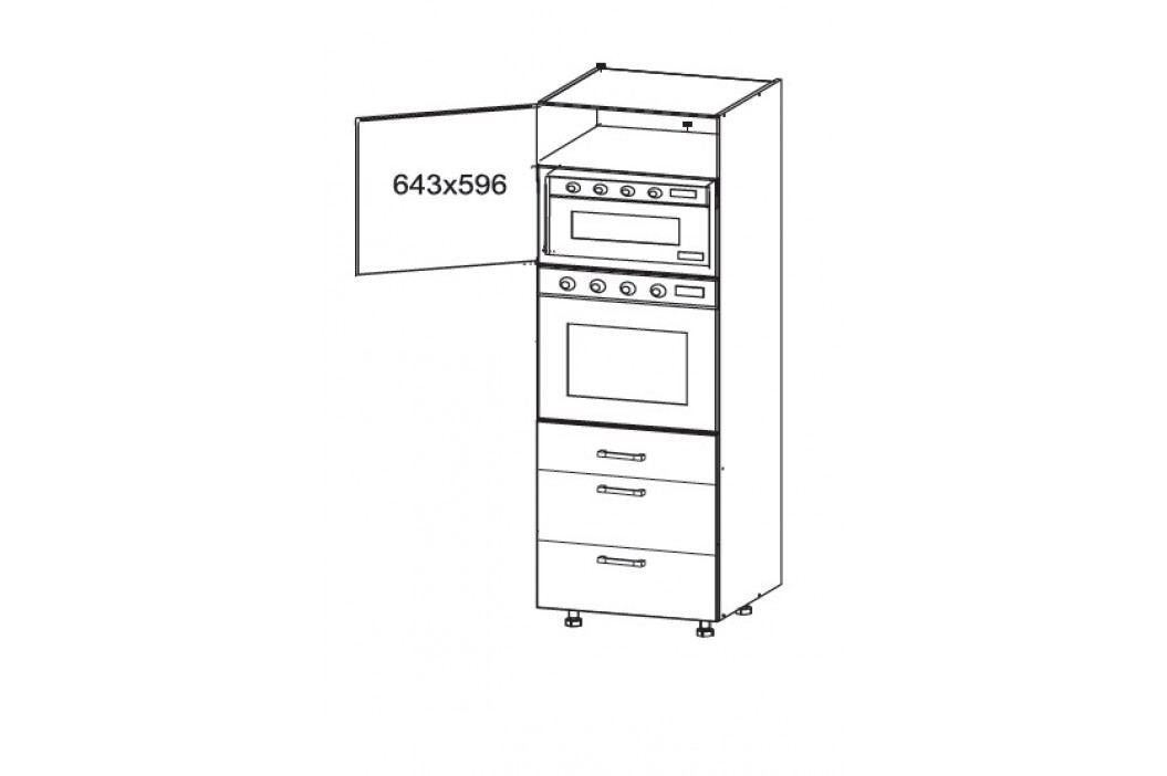 TOP LINE vysoká skříň DPS60/207 SAMBOX, korpus šedá grenola, dvířka bílý lesk