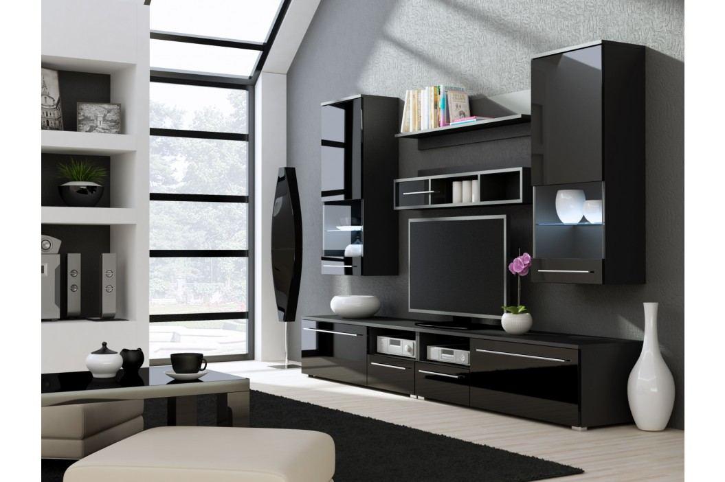 LUNA NIGHT, obývací stěna, černá/černý lesk