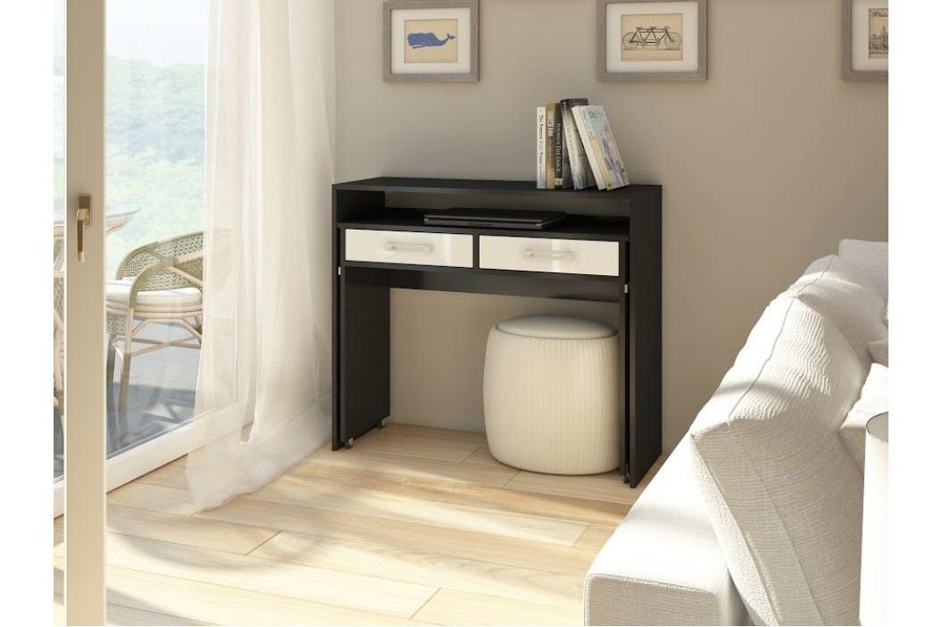 MORAVIA FLAT Psací stůl ZOOM, černá/bílý lesk