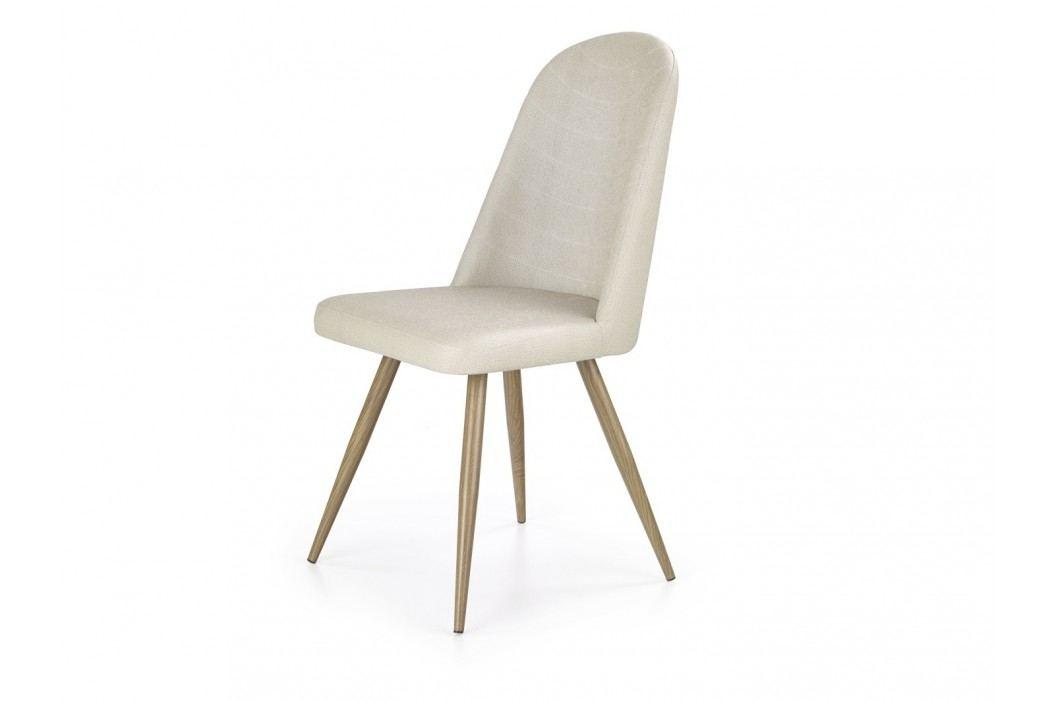 Židle K214, krémová/dub medový