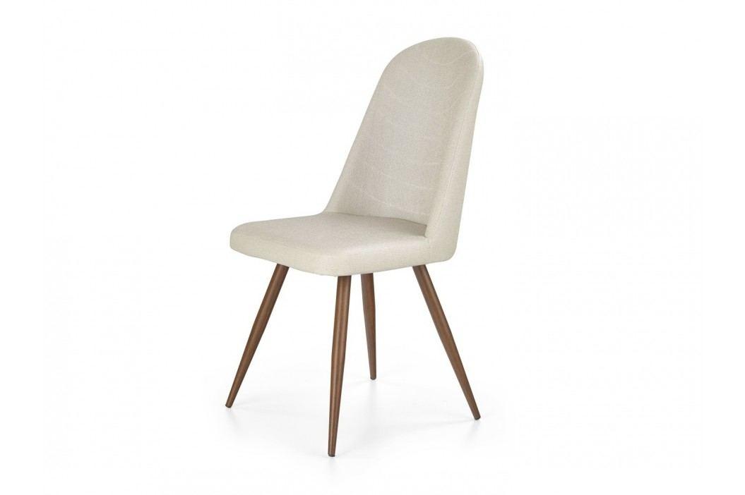 Židle K214, krémová/třešeň antická
