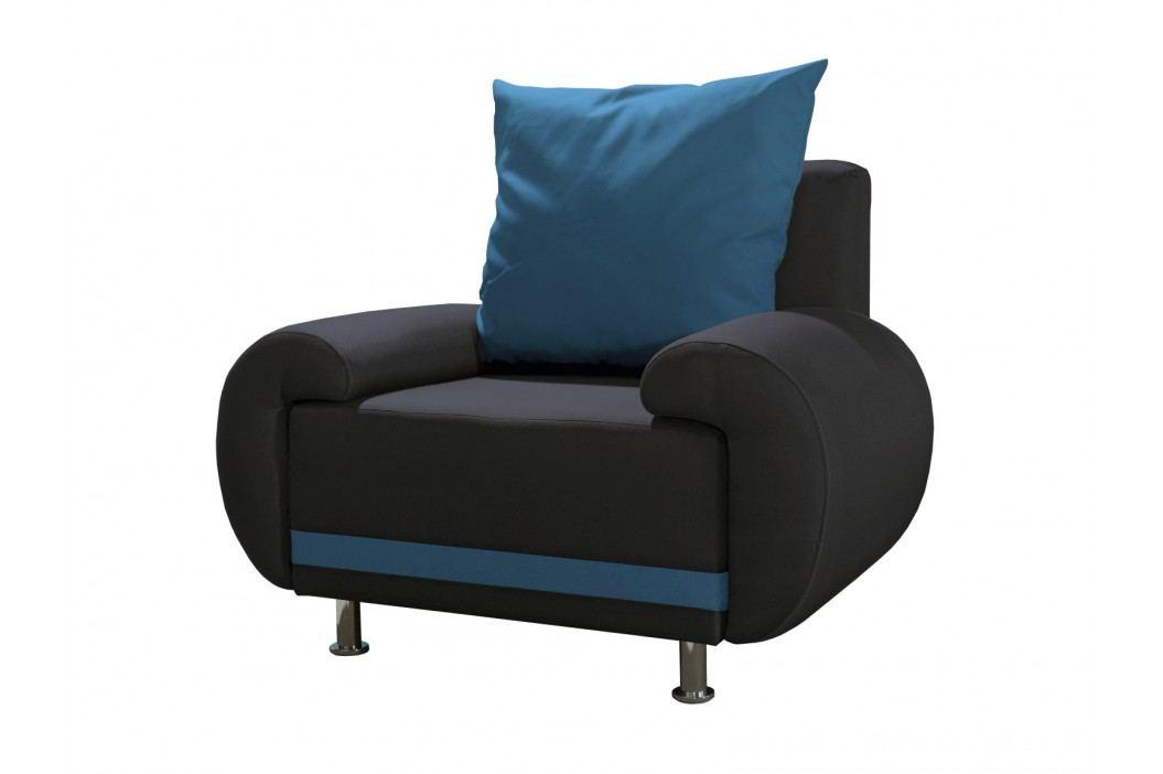 Křeslo AMORE 3, černá/modrá