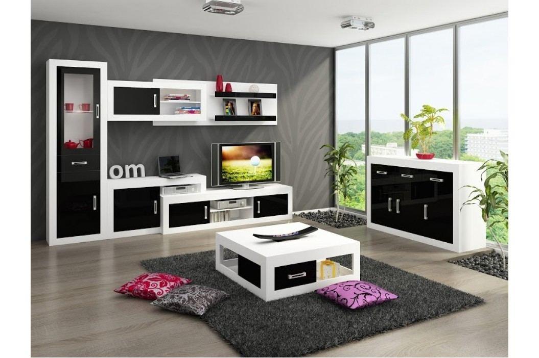 Obývací stěna VERIN 7, bílá/černý lesk