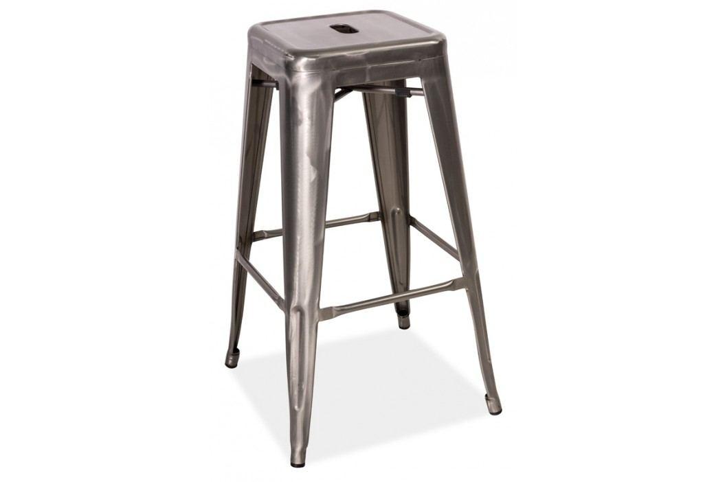 Barová kovová židle LONG, ocel kartáčovaná obrázek inspirace