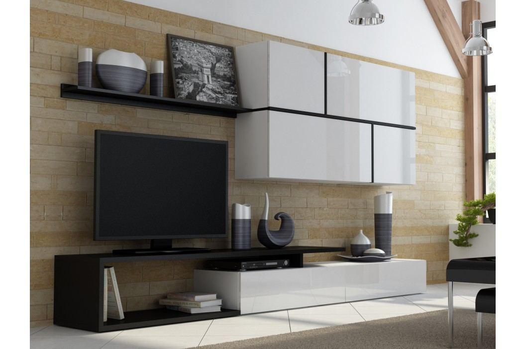 GOYA, obývací stěna, bílý lesk/černý mat