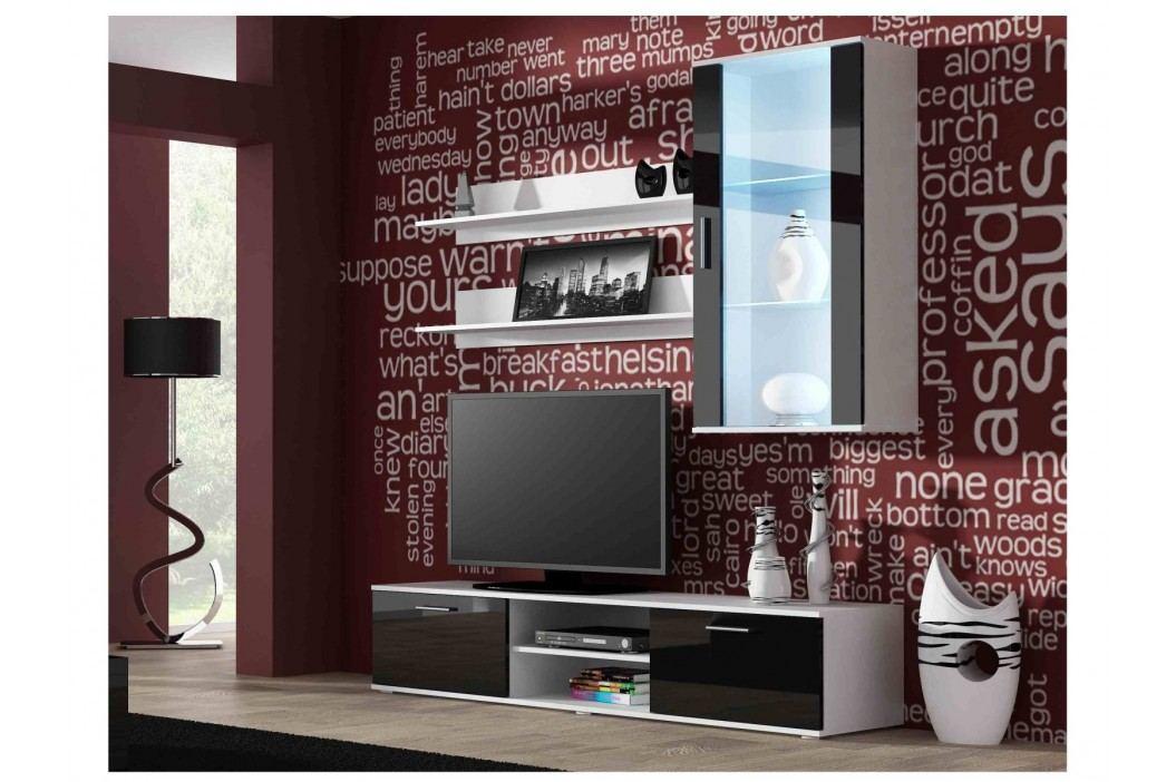 SOHO, obývací pokoj - sestava 2, bílý mat/černý lesk obrázek inspirace