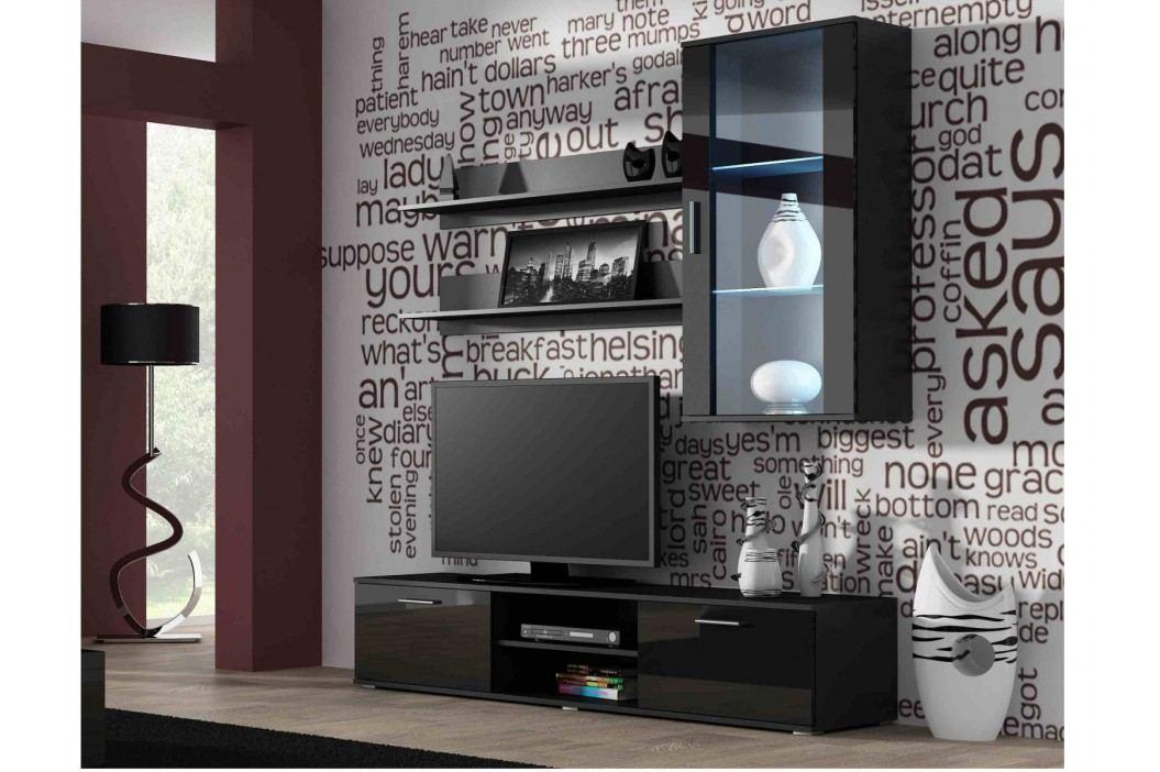 SOHO, obývací pokoj - sestava 2, černý mat/černý lesk