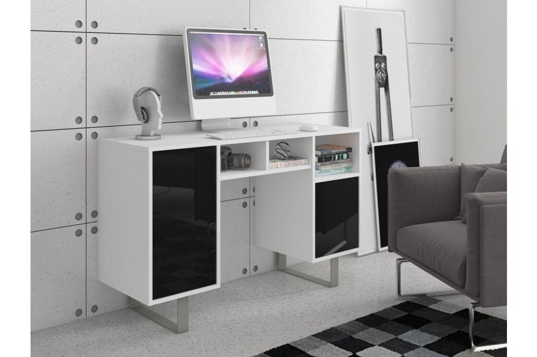 MORAVIA FLAT KING 9 psací stůl, bílá/černý lesk