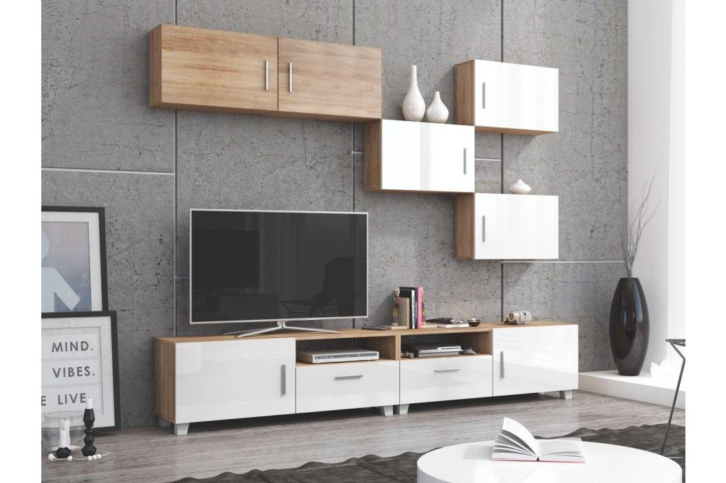 KUGA obývací stěna, dub sonoma/bílý lesk