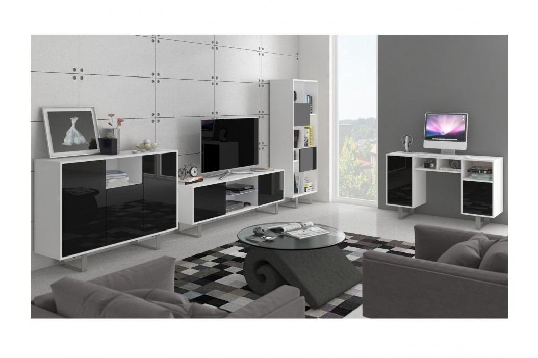 KING obývací pokoj - sestava 2, bílá/černý lesk