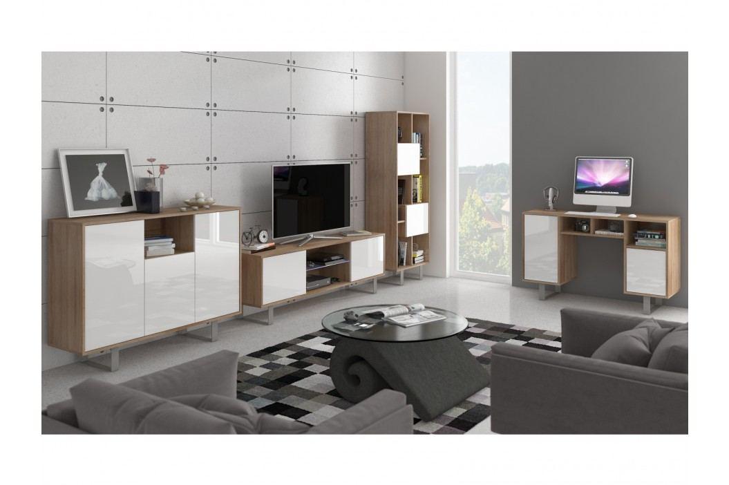 KING obývací pokoj - sestava 2, dub sonoma/bílý lesk