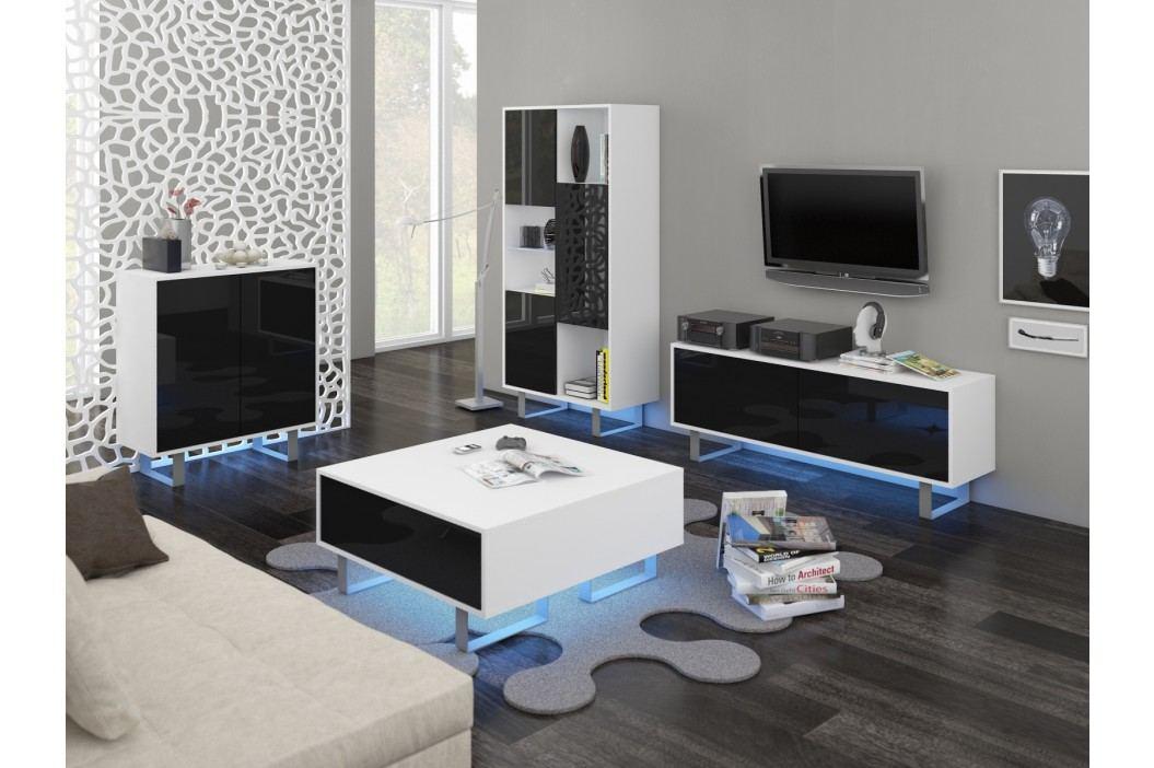 KING obývací pokoj - sestava 1, bílá/černý lesk