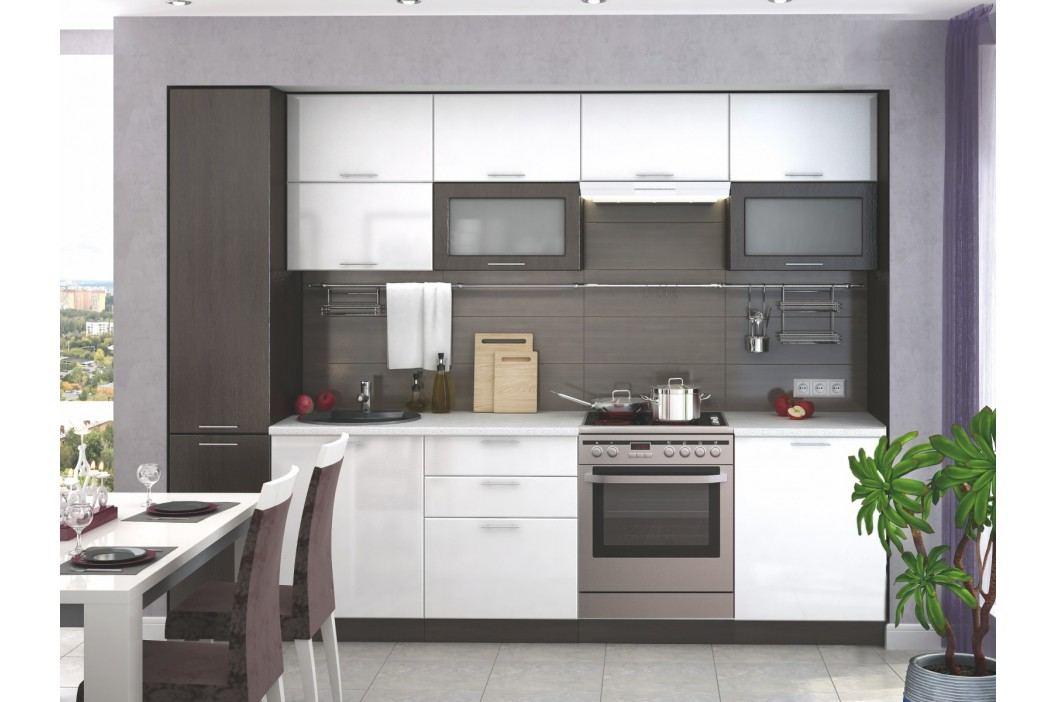 Smartshop Kuchyně VALERIA 180/240 cm bez pracovní desky, wenge/bílý lesk