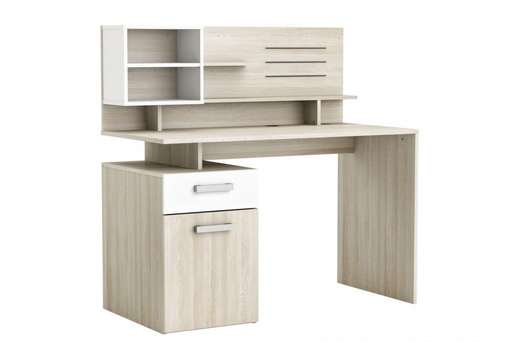 MILICIA psací stůl, bílá/dub shannon