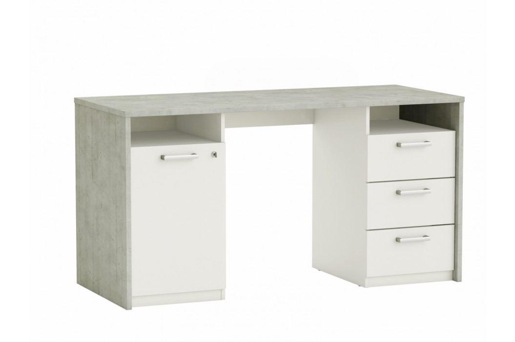 STENFORD psací stůl, bílá/beton obrázek inspirace