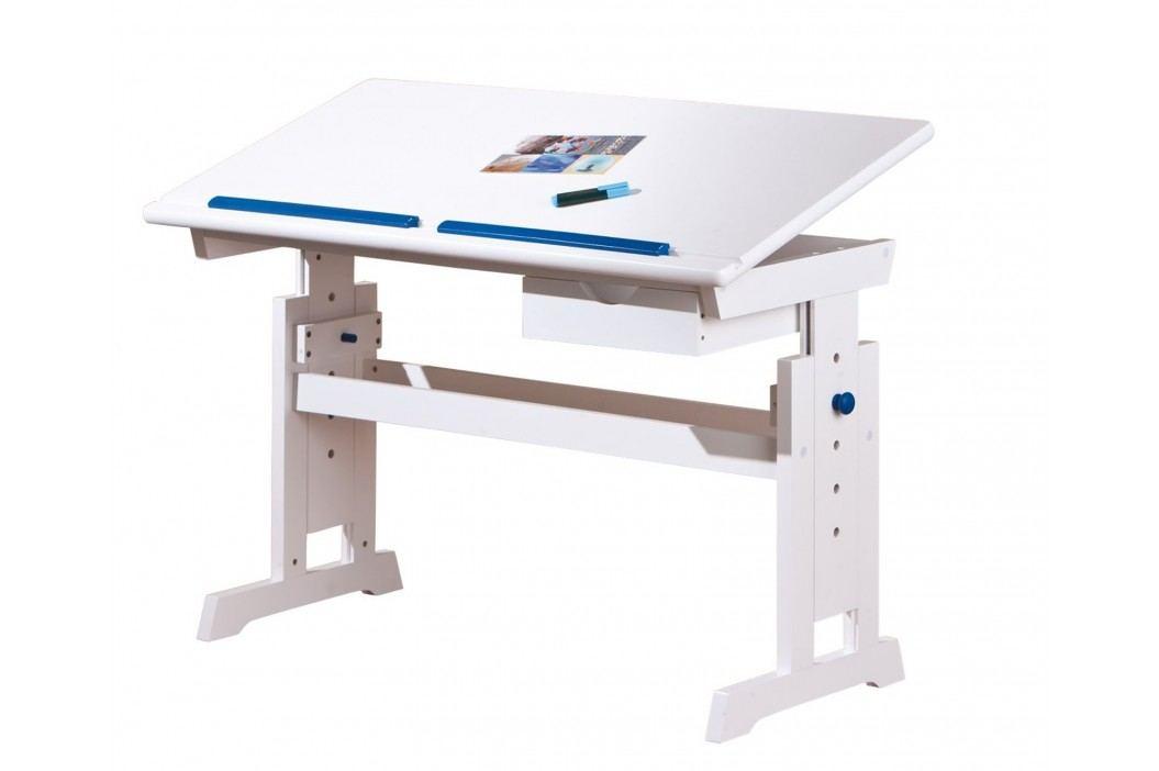 Rostoucí psací stůl BARU, bílo- růžovo-modrá