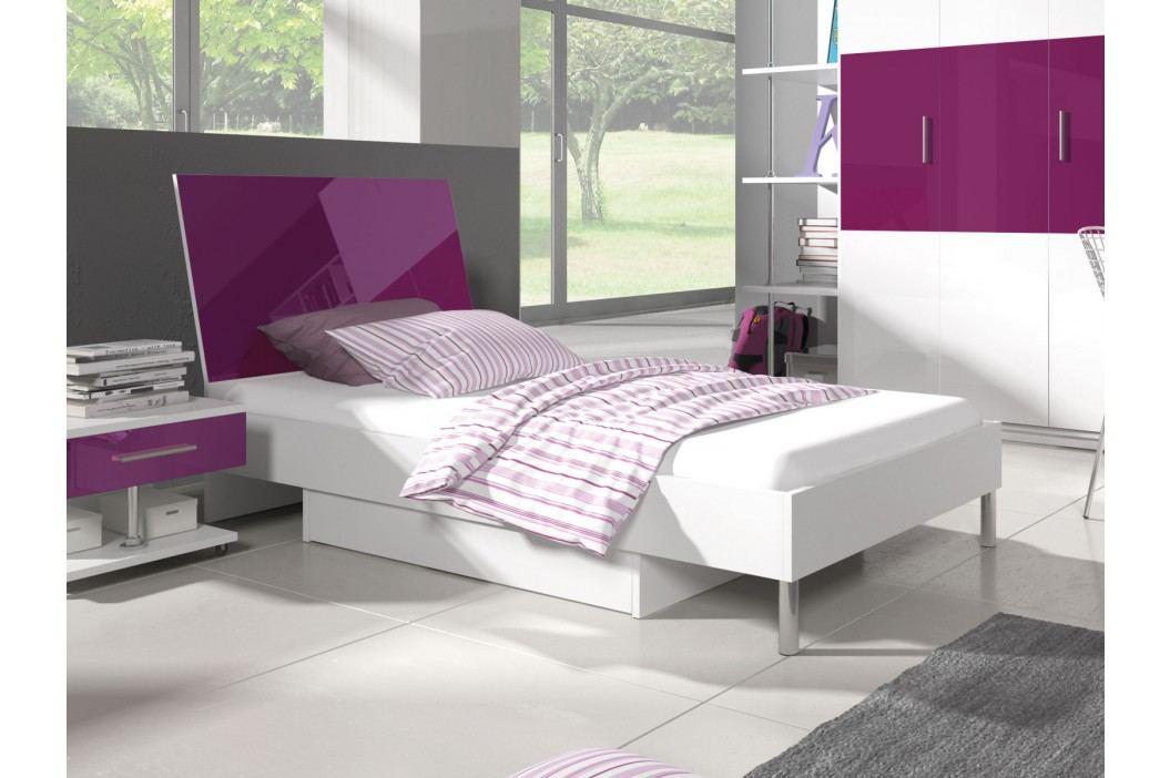 Postel 90x200 cm RAJ 3, bílá/fialový lesk