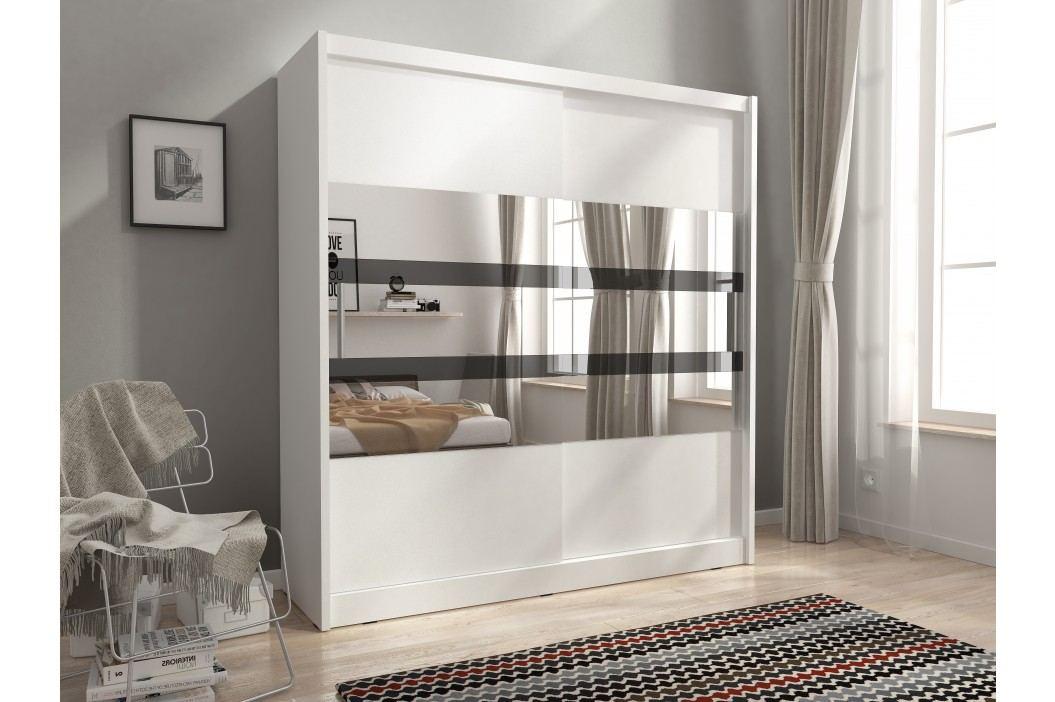 Skříň MAJA V se zrcadlovými pruhy 180 cm, bílá