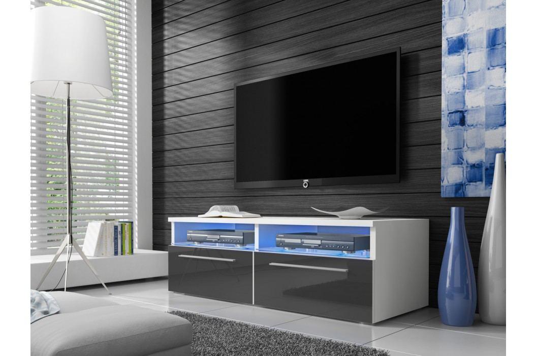 Televizní stolek RTV 6, bílá/šedý lesk