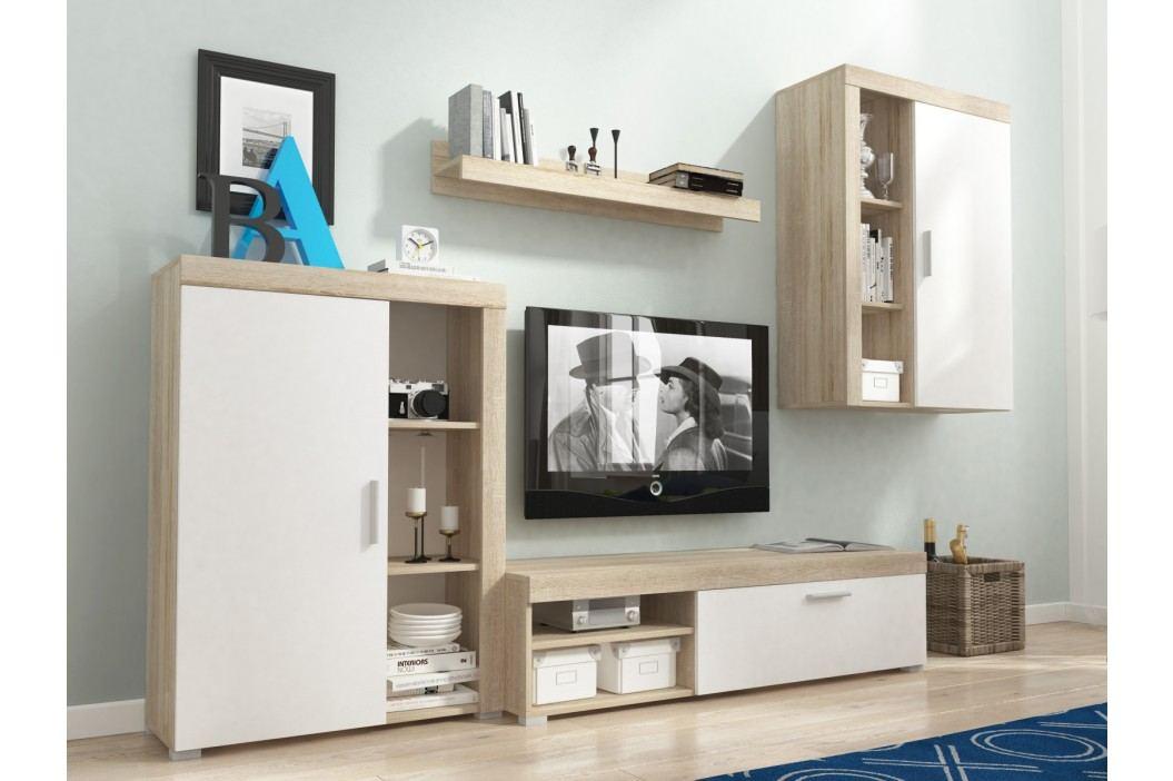 Obývací stěna OLI, dub sonoma/bílá