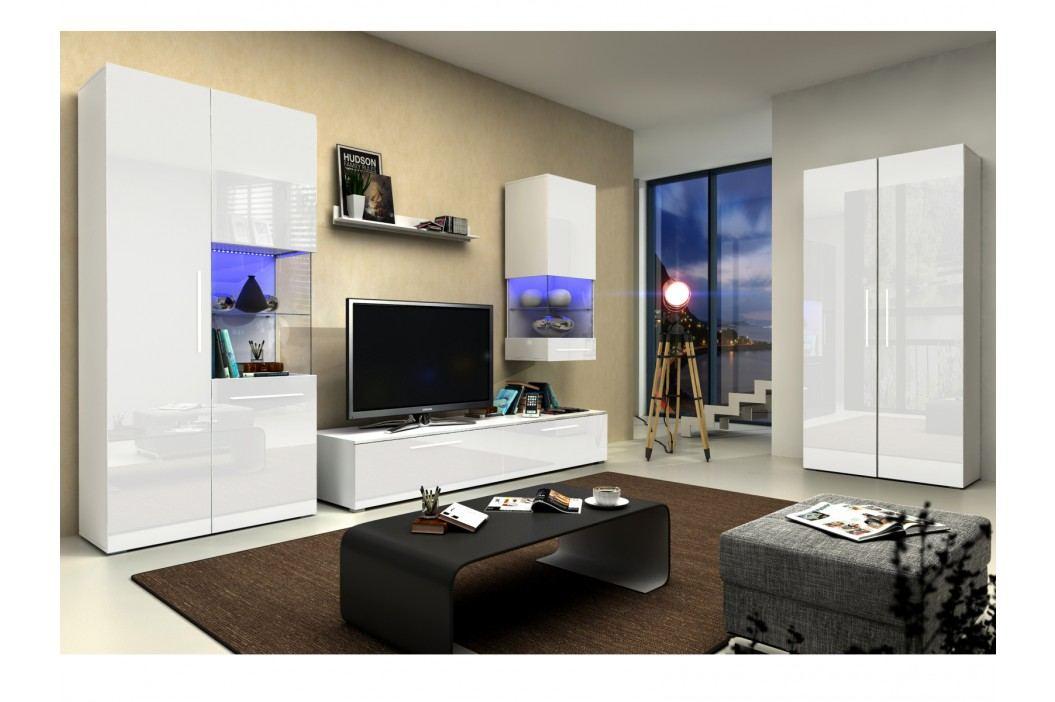 Obývací pokoj NICEA 4, bílá/bílý lesk