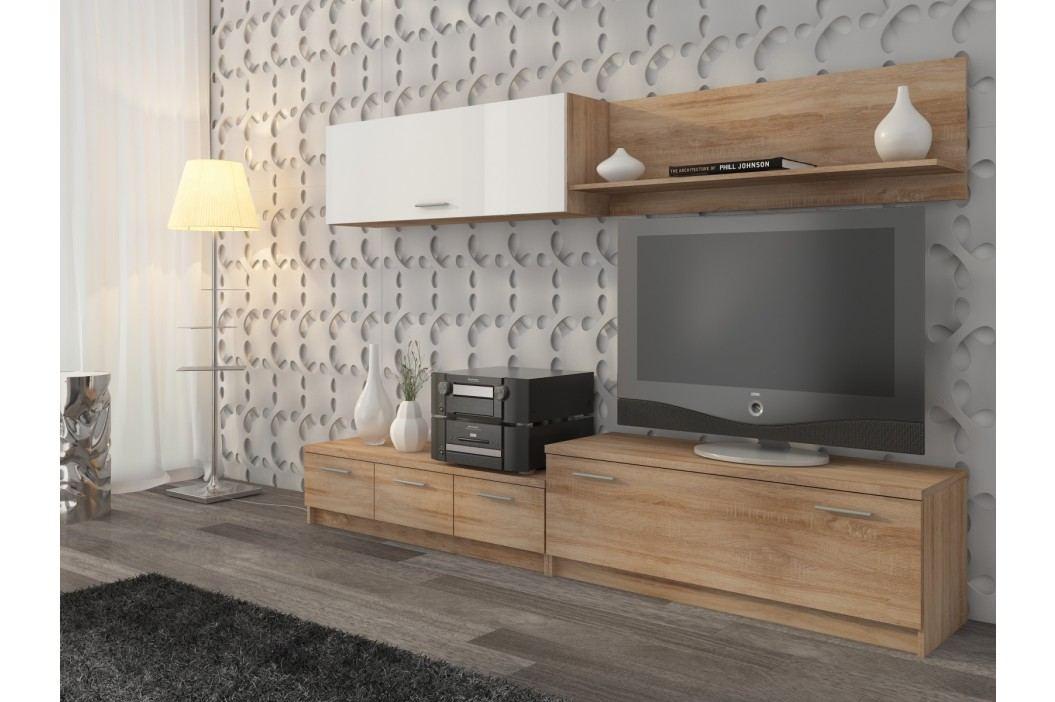 Obývací stěna WALL UNIT, dub sonoma/bílý lesk