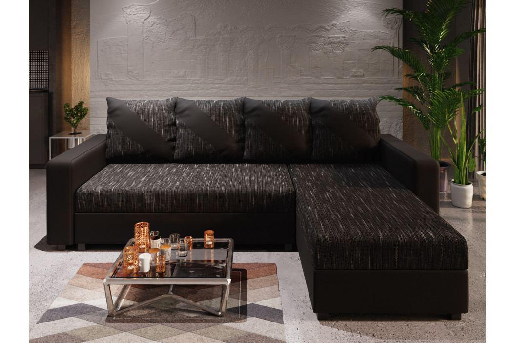Rohová sedačka ASTANA, černá látka/černá ekokůže