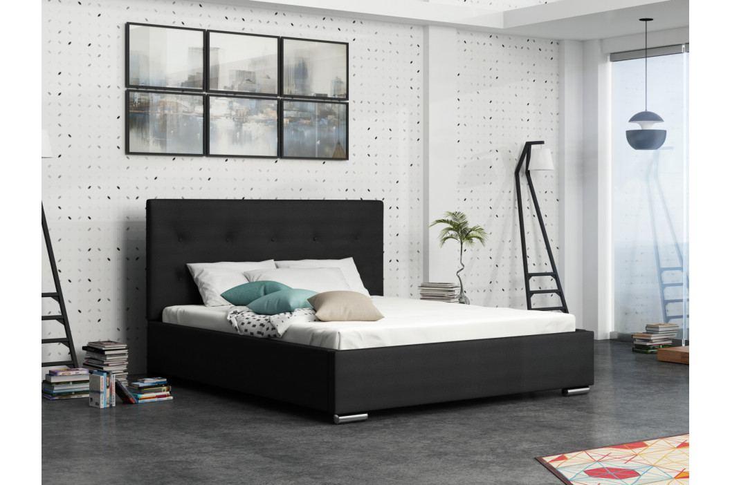 Čalouněná postel SOFIE 1 180x200 cm s roštem a matrací, černá látka