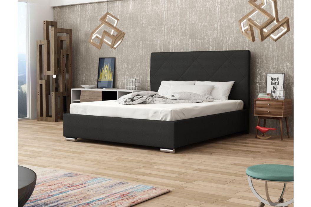 Čalouněná postel SOFIE 5 180x200 cm s roštem a matrací, černá látka