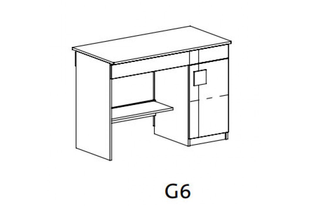 GIMMI, Psací stůl G6, dub santana/hnědá