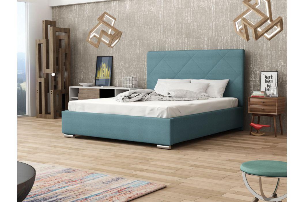 Čalouněná postel SOFIE 5 140x200 cm, modrá látka