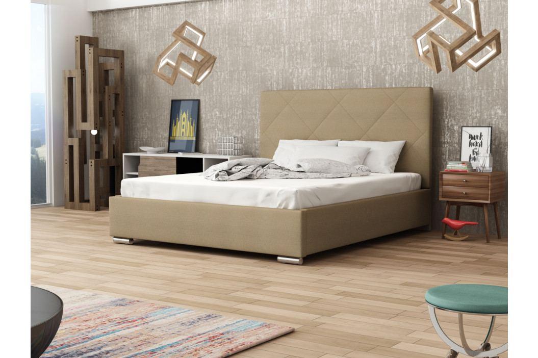 Čalouněná postel SOFIE 5 180x200 cm s roštem a matrací, béžová látka