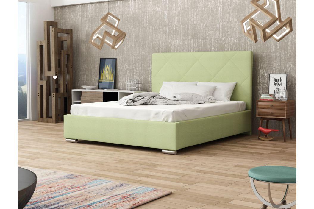 Čalouněná postel SOFIE 5 180x200 cm s roštem a matrací, zelená látka