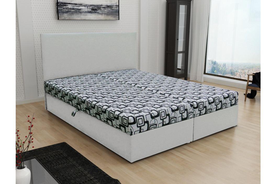 Čalouněná postel JERRY 140x200, šedá látka se vzorem/bílá ekokůže