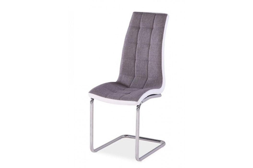 Jídelní čalouněná židle H-103, šedá/bílá