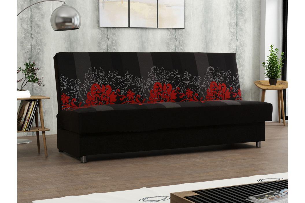 Pohovka SALSA 2, látka květy červené/černá látka