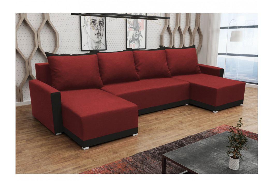 Rohová sedačka BRAGA U, červená látka/černá látka