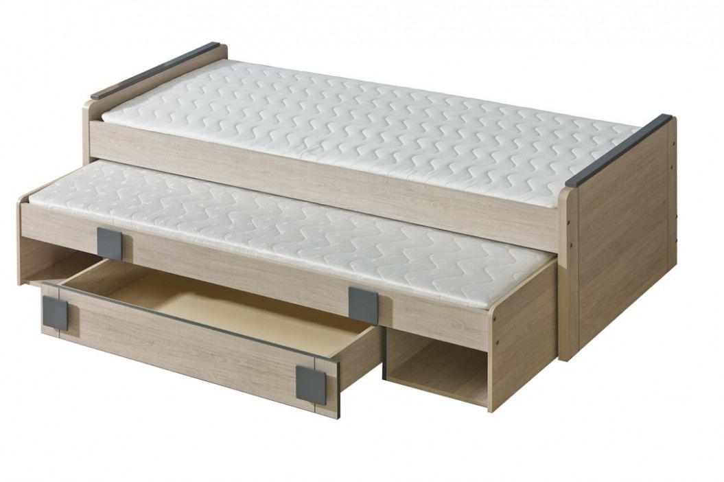 GIMMI, postel s úložným prostorem G16 bez matrací, dub santana/šedá