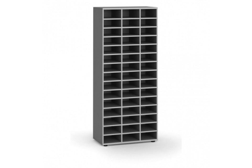 B2B Partner Třídící regál, 800 x 400 x 1865 mm, 45 přihrádek, šedý