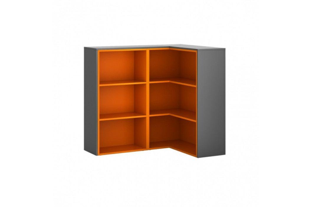 B2B Partner Skříňka rohová R01, levá, grafitová/oranžová