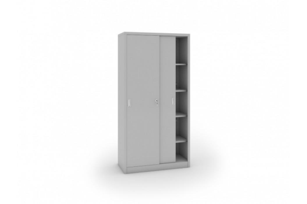 B2B Partner Kovová skříň s posuvnými dveřmi, 1990 x 1000 x 450 mm, světle šedá