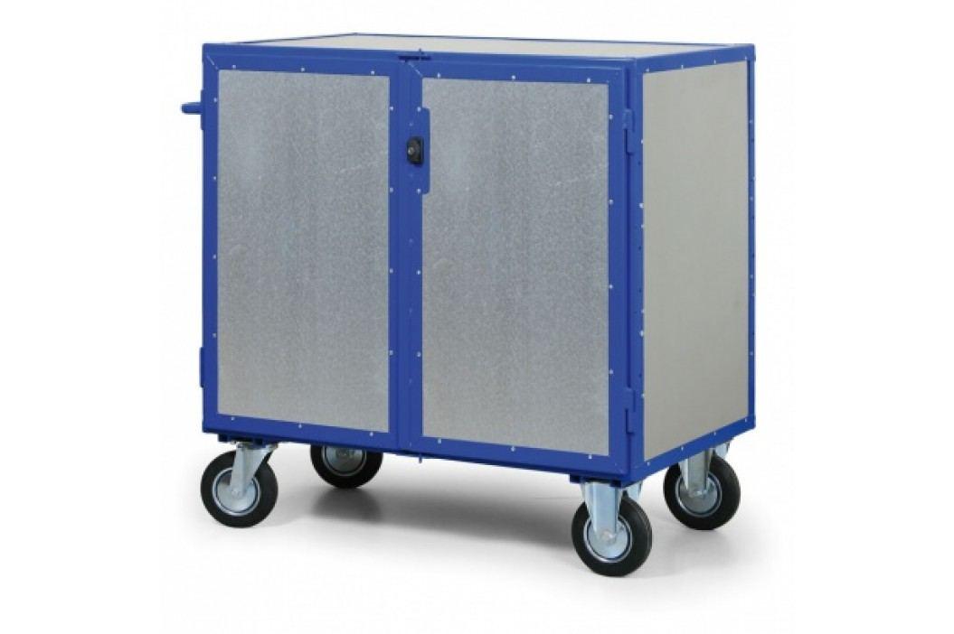 Uzamykatelný skříňový vozík s plechovými stěnami, 3 police