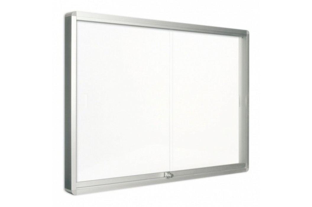 Bi-Office Vitrína s posuvnými dveřmi, bílá magnetická, 967x706 mm