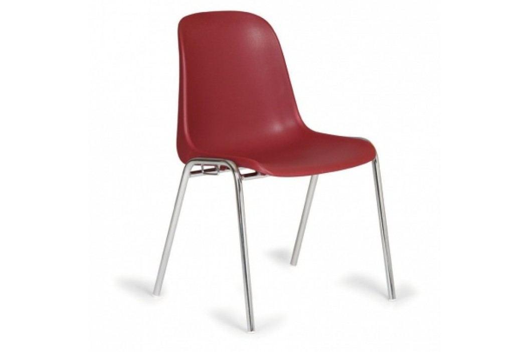 Plastová jídelní židle ELENA, červená - chromované nohy