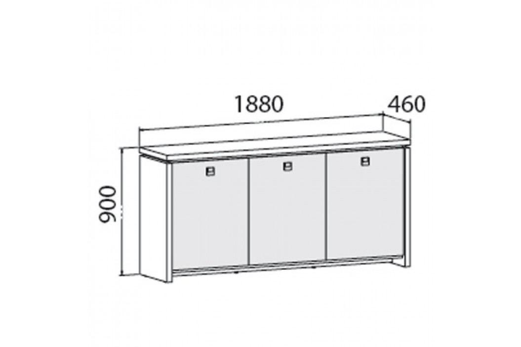 EXNER Skříň třídveřová - prosklená