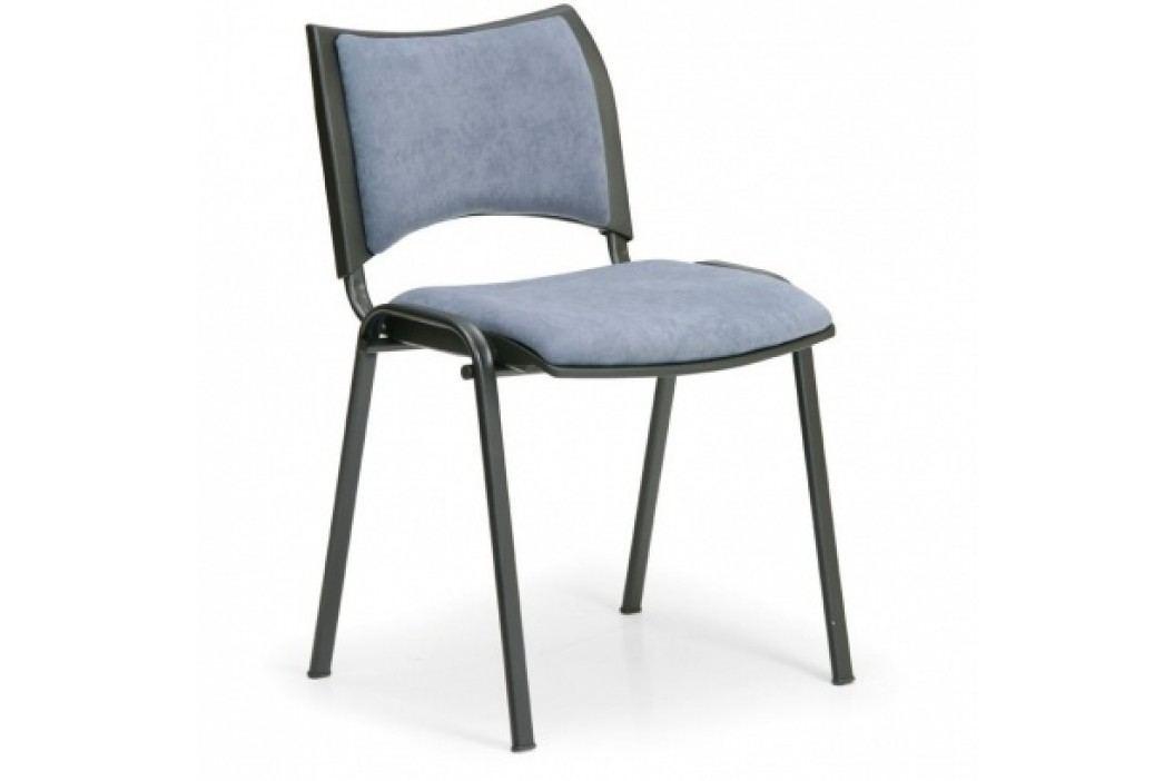 Konferenční židle SMART - černé nohy, bez područek, šedá